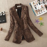 Wholesale One Button Slim Female Jacket - M-3XL 2017 Vintage Spring Women Plus Large Leopard Slim One Button Blazer Outwear Suit Female Jacket Coa
