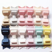Wholesale Hair Bows Blue Yellow - NEW 20pcs 3 Levels Hair Bows New Prince Baby Girls Hair Clips with Faux Glitter Litchi Stria Leather Hair Grip Stripe Pink Hairpins
