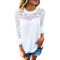 Wholesale Shirt Frill - Autumn Women Casual Blouse With Lace Hollow Out O-Neck T Shirt 3 4 Sleeve Frill Tops ZL3385