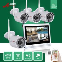 DHL FREE ANRAN P2P 4CH 1080P Monitor LCD de 12 polegadas WIFI NVR 36IR Waterproof Network Wireless IP Camera Security Surveillance CCTV System