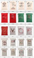 Indoor Christmas Decoration Cloth None 2017 Christmas Large Canvas Monogrammable Santa Claus Drawstring Bag With Reindeers, Monogramable Christmas Gifts Sack Bags fast shipping