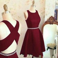 Wholesale special occasion dresses free shipping - Real Photos Short Homecoming Dresses 2017 Burgundy Prom Dress Special Occasion Cocktail Party Gowns Free Shipping