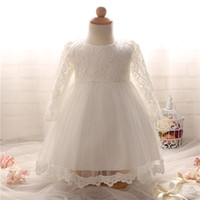 Wholesale Christening Gowns For Newborns - Wholesale- Newborn Baptism Dress For Baby Girl White First Birthday Party Wear Cute Lace Long Sleeve Christening Gown Tutu Infant Clothing