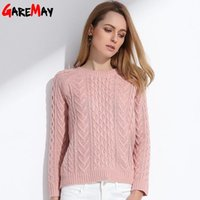 Wholesale Retro Jumpers - GAREMAY Women Retro Pullover Pink Sweater Jacquard Spring 2017 Women Slim Short Knitted Long Sleeve Sweaters Ladies Jumper S066