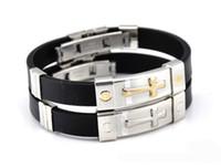 silver soccer bracelets großhandel-Kostenloser Versand Gold Silber Farbe Silikon Titan Stahl Kreuz Armband Silikon Herren Hand Ring