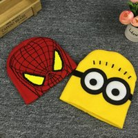 Wholesale Despicable Men - Despicable Me Minions Spider-man Knit Caps And Gloves 2016 New Cartoon Winter Knitted Kids Girls Boys Hats Gloves Children Christmas Gift