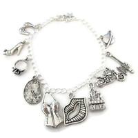 Wholesale Warp Chains - 12pcs Rocky Horror Charm Bracelet Janet's Bra High-Heel Engagement Warped Clock charm bracelet adjsutable Jewelry