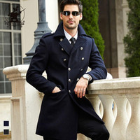 Wholesale Plus Size Long Pea Coat - Wholesale- brand new mens navy wool pea coat winter fashion high quality plus size business casual wool coat for men pull homme D42F1809