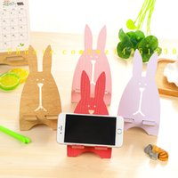 Wholesale Rabbit Mobile Holder - Korea creative mobile phone holder, cute escape rabbit mobile phone stand, wooden, mobile phone bracket
