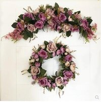 Wholesale Purple Door Wreath - New Purple Rose Artificial flowers Door lintel Flower Mirror Flower garland wreath wedding flower Background props