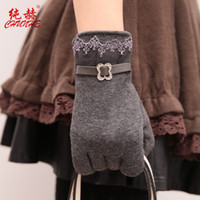 Wholesale Suede Gloves Wholesale - Touch screen ladies, Korean gloves, women's lace, suede, open bike, cute gloves wholesale