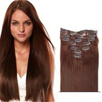 Wholesale Extensions Clip Auburn 33 - #33 Extensiones Natural 100% Human Hair Clip In Hair Extensions 22 Inches Brazilian straight Clip Ins
