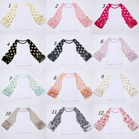 Wholesale Baby Fall Cloth - Baby girl icing Ruffle Sleeve shirts with gold polka dot Girls boutique clothes o-neck casual flower tops Autumn fall cloth