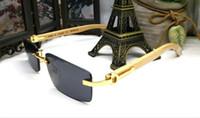 Wholesale Eyeglass Frames For Girls - 2017 popular buffalo horn glasses for women luxury brand sunglasses eyeglasses wooden sunglasses rimless grey metal glasses frame