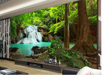Wholesale Background Size - Custom any size Popular romantic romantic forest landscape painting waterfalls water long background wall