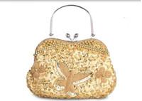 Wholesale Dot Wristlet - New Style Minaudiere Evening Dinner Clutch Diagonal Bridal Bag Single Shoulder Hand Bag Beaded cheongsam Bag