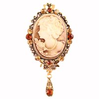 Wholesale Cheap Cameos - Wholesale- Vintage Brooches Pretty Beauty Head Design Rhinestone Cameo Brooch Pins For Women Cheap Price