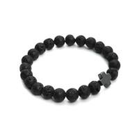 Wholesale hematite cross bracelet - 2016 New 8mm Natural Lava Stone Beaded Bracelet Men Hematite Gallstone Cross Bracelets Pulseras Hombre Yoga Jewelry F3761