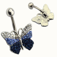 Wholesale Tungsten Blue Diamond Ring - 2017 Butterfly Blue White full diamond 18K Gold Plated Belly Button Rings Navel Piercing Body Jewelry Gift Navel Belly Rings