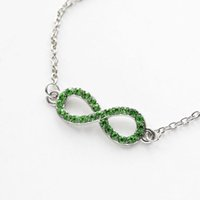 8 Word Link Chain Bracelet Clear Cubic Zircon Alloy Silver Plated Fashion Green Blue Women Charm Jewelry Wholesale Girl Подарочная партия