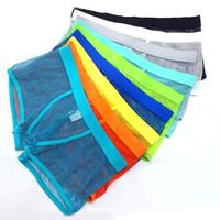 Wholesale Cool Underwear Men - Hot Sale Men Mesh Breathable Boxer Shorts Brand Gay Underwear Summer Cool Sexy Net Transparent Men Underwear Boxers free shipping