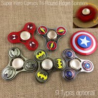 Wholesale Hero Bikes - New Super Hero Comics Fidget Spinner Toy Zinc Alloy Hand Spinners Tri Round Mold CNC EDC Finger Anxiety Rollover Novelty HandSpinners Toys