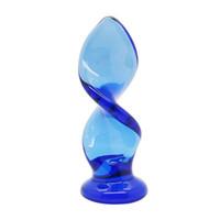 consolador de cristal unisex al por mayor-Carámbanos Girar y Girar Cristal azul Espiral Vidrio Sexo anal Consolador Juguetes para pareja, Productos sexy unisex Juguetes eróticos eróticos 17402