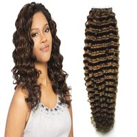 Wholesale Human Tape in kinky curly Skin Weft curly tape hair extensions Dark Brown tape in human hair extensions g