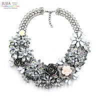 Wholesale Vintage Winter Pendant - Wholesale-2016 New Hot sale overstate winter vintage women fashion flower necklaces & pendants costume chunky collar statement Necklace