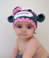 Wholesale Sock Monkey Beanie Hats - Sock Monkey Stripe Crochet Knitted Hat Newborn Infant Toddler Baby Girl Boy Xmas Cap Winter Kids Children Animal Beanie Earflaps 100% Cotton