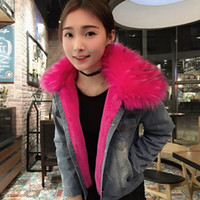 Wholesale Hooded Denim Coat - 2016 Autumn and Winter Slim Fit Denim Parka human-made Fake Fur Bont Parka Coat Lining Removeable S to XL