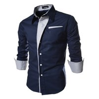 Wholesale Trendy Men Shirts - Hot Selling Solid Men's Dress Shirts Slim Long Sleeve Single-breasted Fashion Casual Clothing Men Trendy Shirts Tops M-3XL Free Shipping