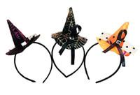 ingrosso streghe cappello fascia-Mini cappello strega fascia ragnatela puntini berretto a velo Pasqua halloween costume costume accessorio copricapo festa regali spaventosi