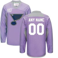 Wholesale Oranges Cancer - Custom St. Louis Blues Jerseys 2016 Hockey Fights Cancer Practice Jersey Any Name Any Number Men's St. Louis Blues Hockey Jerseys Purple