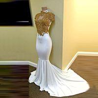 Wholesale Vestidos Noche Satin - White And Gold Mermaid Prom Dresses 2017 Long Satin Appliques Beaded Vestidos De Noche Zipper-Up Court Train Formal Evening Dresses 2k17