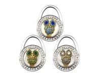Wholesale Owl Hanger - Owl Purple Foldable Purse Bag Rhinestone Hanger Handbag Hook Holder