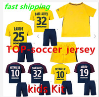 Wholesale Paris Kids - Kids 17 18 Paris home away yellow soccer uniform SHORTS Kit football shirts soccer jerseys Maillot neymar jr 10 di maria 11 cavani verratt