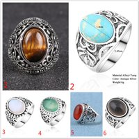 Wholesale Natural Green Sapphire Rings - Retro Hollow Turquoise stone ring Tiger eye opal natural Stone black green antique silver plated Gemstone ring for women