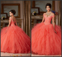 Wholesale Beautiful Dresse - Sweep Train Africa Quinceanera Dresse Coral Cheap Prom Dress Long Pipings Elegant Off Shoulder Applique Crystal Beautiful High Quality