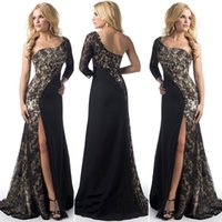 Wholesale One Shoulder Backless Maxi Dress - Elegant Long Prom Evening Dresses for Women Lace One-Shoulder Contrasr Color Maxi Sweep Train Corset Fashion Party Dresses 2017 Sexy