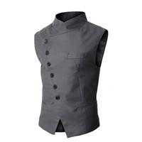 erkekler için gri resmi takım elbise toptan satış-Toptan-Yeni Varış Erkek Yelek Moda Marka Yelek Erkekler Yüksek Kalite Siyah Gri Örgün İş Erkekler Fit Erkekler Için Blazer Suits
