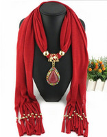 Wholesale Wholesale Polyester Resin - New Alloy Resin Jewelry Solid Color Polyester Tassel Scarf Golden Gemstone Droplets Pendants Scarf Necklaces LD