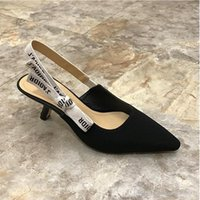 Wholesale Gladiator Shoes Flats - 2017 Bow Letter Bow Knot High Heel Shoes Women Runway Pointed Toe Black Pumps Fashioni Flat Shoes Woman Gladiaor Sandals
