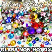 Wholesale Rhinestones Hot Fix Ss12 - Wholesale-Nail Art Cystals Mix Sizes Colors Glass Non Hot Fix Flat Back Rhinestone SS3 SS4 SS5 SS6 SS8 SS10 SS12 SS16 SS20 SS30 Glitters