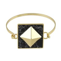 Wholesale Color Metal Bangle - Punk Rock Style Gold-Color Metal with White Black Marble Geometric Open Statement Bracelets and Bangles For Women