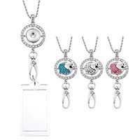 3 pièces Elephant Charm Button Snap Collier Bijoux Porte-pendentif Clip Office Lanyard ID Badges Holder Collier N178S