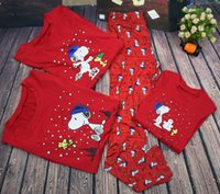 Wholesale Snoopy Suit - Christmas pajamas family matching clothes kids cute snoopy printed outfits home suits mother and dauther long sleeve tops+pants 2pcs T0365
