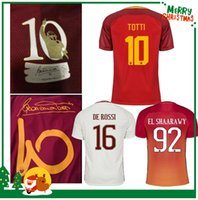 Wholesale Embroidery Sports Jerseys - 17 18 Rome soccer TOTTI DZEKO Men Sports Embroidery DE ROSSI Jersey 2017 2018 ROMAS EL SHAARAWY NAINGGOLAN Football shirt