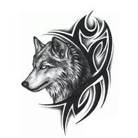 Wholesale wolf tattoo stickers - Wholesale- Men Women Wolf Head Waterproof Temporary Tattoo Removable Wholesale 1PCS New Fashion Body Arm Leg Art Sticker