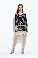 Wholesale Bohemian Swimsuit Top - Beach Style Women Boho V-Neck Long Sleeve Hollow Out Bikini Cover Up Casual Loose Patchwork Blouse Beach Swimsuit Bikini Cover Up Tops
